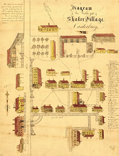 Map: 1849 Diagram of the south part of Shaker Village, Canterbury, NH. The artist who drew this diagram, not being acquainted with any rules of drawing, hopes it will be - Pakistani Fashion Images Latest