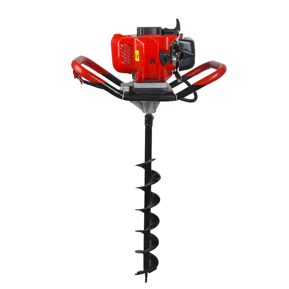 ECO-WORTHY 2.5HP Gas Powered Post Hole Digger W// 8 Earth Auger Drill Bit+23.62 Extension Length 52CC Power Engine Digger with 6 /& 10 Earth Auger+Extension