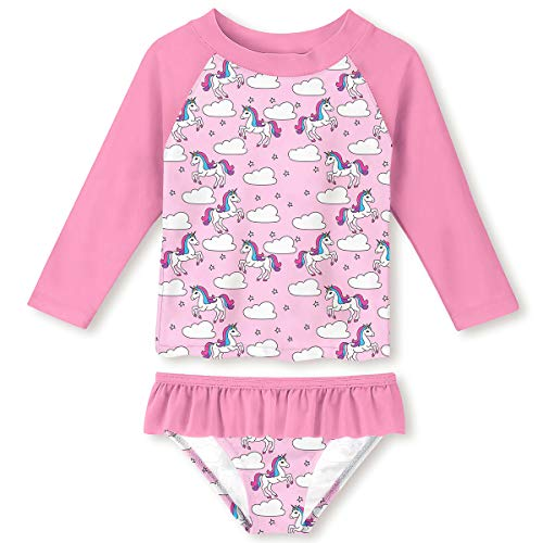 UNIFACO Girl Long Sleeve Pink Unicorn Cloud Stars Bathing Suit Stretchy Rash Guard Sets with UPF50+