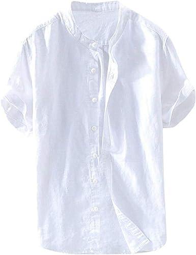 Camisa De Manga Corta para Hombres Camisa De Lino Camisa Ropa de Fiesta Casual De Verano Tops De Ajuste Regular Camisa para Hombres Camiseta De Manga Corta Streetwear De Manga Corta: Amazon.es: