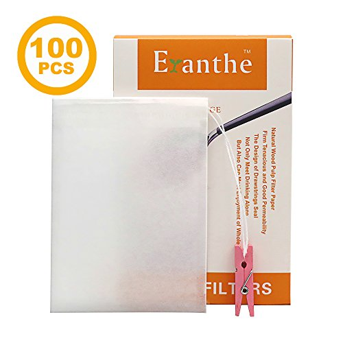 """100PCS Disposable Tea Filter Bags with Drawstring, Tea Infusers For Loose Leaf, 100% Natural Wood Pulp Permeable Paper, 4 Free Clips(4.33""""x3.15"""", Large) (Make Tea Infuser)"""