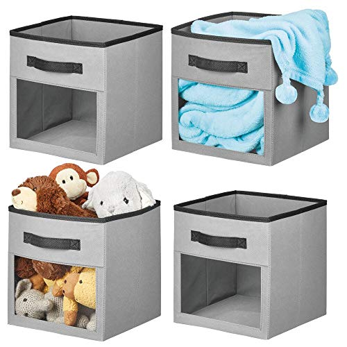(mDesign Soft Fabric Closet Storage Organizer Cube with Front View Window Bin, Storage for Baby, Kids Room, Nursery, Toy Room, Furniture Units, 11