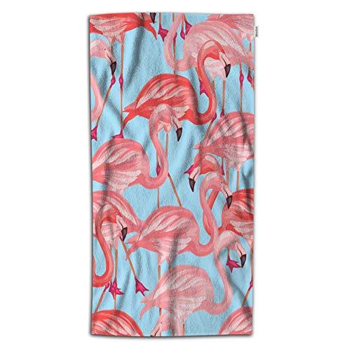 - Moslion Flamingo Bath Towel Tropical Birds Flamingo Nature Animals Paradise Feather in Summer Towel Soft Microfiber Baby Hand Beach Towel for Kids Bathroom 32x64 Inch Blue Pink