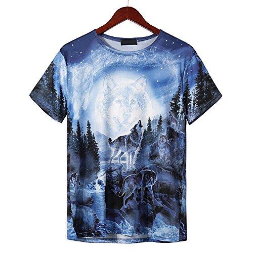 Alalaso Funny Boys Men 3D Wolf Printed Summer Short Sleeve T-Shirts Top Tee Blouse(Blue,XL)