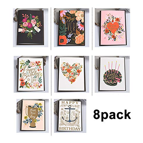 MINI Birthday Greeting Cards XWYL Value Pack 8 UNIQUE DESIGNS GOLD EMBELLISHMENTS WITH WATERCOLOR PATTERNS