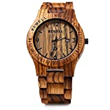 GBlife Bewell ZS - W086B Wood Men Watch Analog Quartz Movement Day Display Lightweight Vintage Wooden Watch
