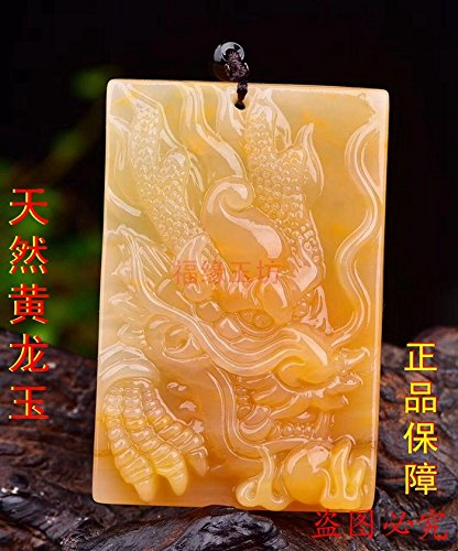 Huanglong jade dragon necklace pendant natural brand for men and women girls students Xiaolong Yu Huang Yulong brand jade necklace pendant jade necklace pendant s