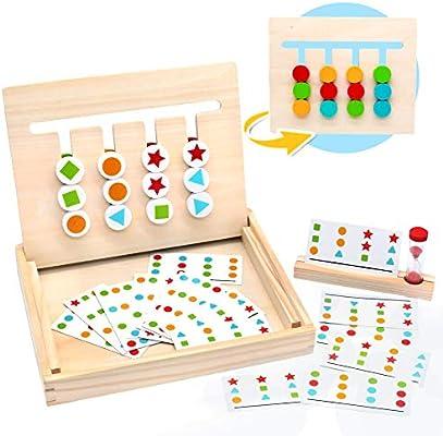 Symiu Juguetes Montessori Tablero Juego de Madera Puzzles ...