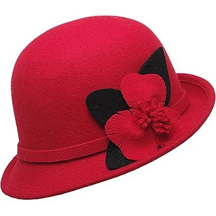 KYXXLD Otoño e Invierno Sombreros Gorras Sombreros de Corea Madre e Hija Tapas Rojas Adultas