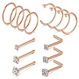 Briana Williams 14pcs 20G Nose Rings Hoop Stainless Steel Nose Ring Studs Nose Piercing Jewelry 1.5mm 2mm 2.5mm Clear CZ