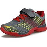 Hawkwell Kids Mesh Hook-and-Loop Strap Running Shoes(Little Kid),Black Mesh,11 M US