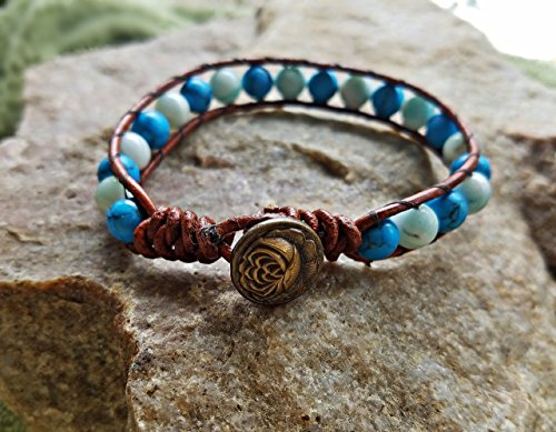(Leather Wrap Bracelet With Turquoise Colored Howlite and Blue Agate Beads With Lotus Button Clasp)