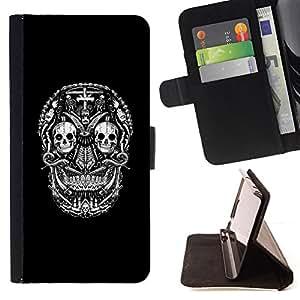 BullDog Case - FOR/Samsung Galaxy S6 EDGE / - / BLACK SKULL CROSS DEATH METAL ROCK /- Monedero de cuero de la PU Llevar cubierta de la caja con el ID Credit Card Slots Flip funda de cuer
