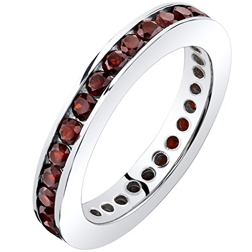 Garnet Eternity Band Ring Sterling Silver 1.00 Carats Size 9