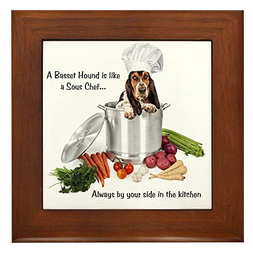 CafePress Basset Hound Sous Chef Framed Tile, Decorative Tile Wall Hanging
