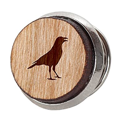 Crow Stylish Cherry Wood Tie Tack- 12Mm Simple Tie Clip with Laser Engraved Design - Engraved Tie Tack Gift