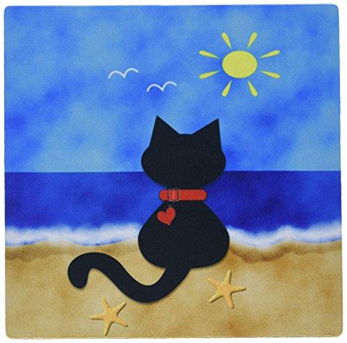 3dRose Black Kitty Summer Beach