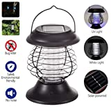 Bug Zapper-Electronic Insect Killer,Waterproof Solar Mosquito Killer lamp with Hook, Mosquito Bug Trap