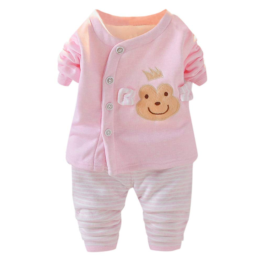Geetobby Baby Girls&Boys Long Sleeve Thermal Sweatshirt Striped Pant Pajama Suit Grace Toby