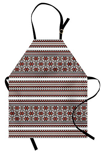 Lunarable Ukrainian Apron, Ornate Pixel Herringbone Rhombus and Square Eastern European Slavic Culture, Unisex Kitchen Bib with Adjustable Neck for Cooking Gardening, Adult Size, Salmon Black