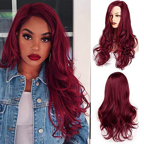 AISI HAIR Wavy Side Part Heat Resistant Wig Cosplay Long Curly Red Hair for Black Women Natural Looking Fiber -