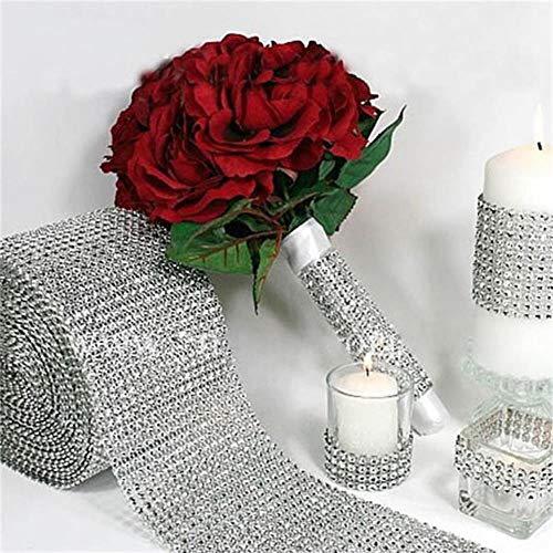 Ribbons - 1 Roll Diamond Mesh Wrap Sparkle Rhinestone Crystal Ribbons Wedding Party Decoration - Jeune On Legs Napkins Caps Identifiers Halloween Reward Men Book