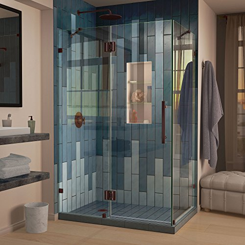 DreamLine Quatra Lux 32 1/4 in. D x 46 3/8 in. W x 72 in. H Frameless Hinged Shower Enclosure in Oil Rubbed Bronze, SHEN-1332460-06