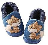 D.S.mor Kid's Fox Plush Warm Slippers Bedroom Slippers Children's Slippers (7 M Toddler, Blue)