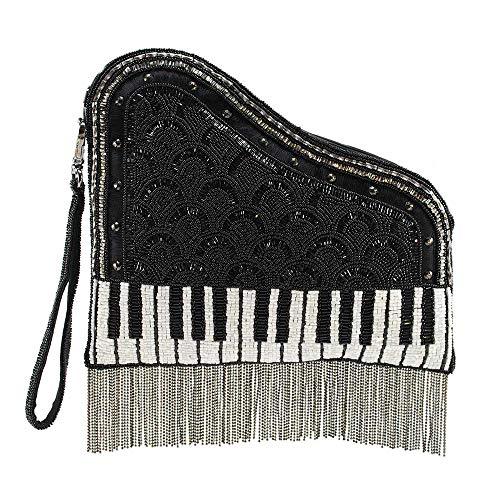 Mary Frances Note Embellished Leather Piano Crossbody Wristlet Handbag, Black