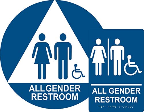 (ADA All Gender Restroom Sign Bundle, Door and Wall Sign with Braille)