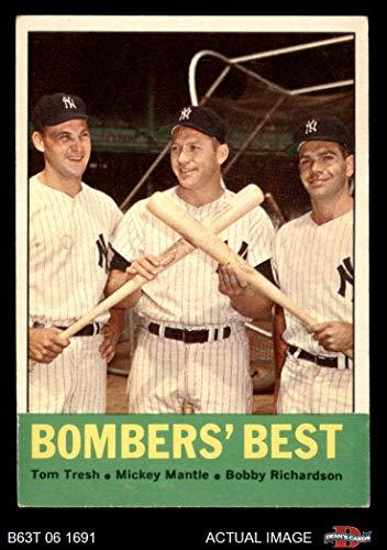 1963 Topps # 173 Bomber's Best Mickey Mantle/Bobby Richardson/Tom Tresh New York Yankees (Baseball Card) Dean's Cards 4 - VG/EX Yankees (Baseball Bobby Richardson)