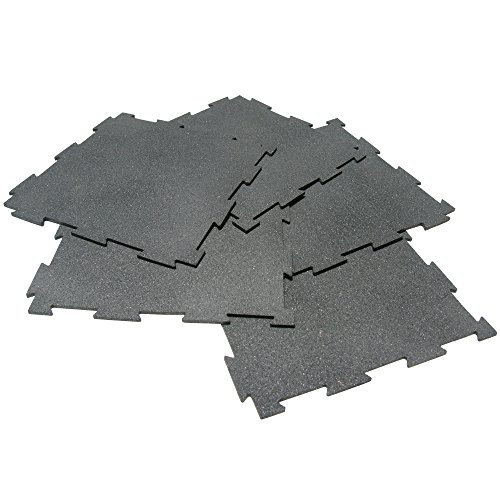 Rubber-Cal ''Puzzle-Lock'' Interlocking Basement Flooring - 3/8x20x20inch, 25Pack, 68 Sqr/Ft - Black Mats by Rubber-Cal