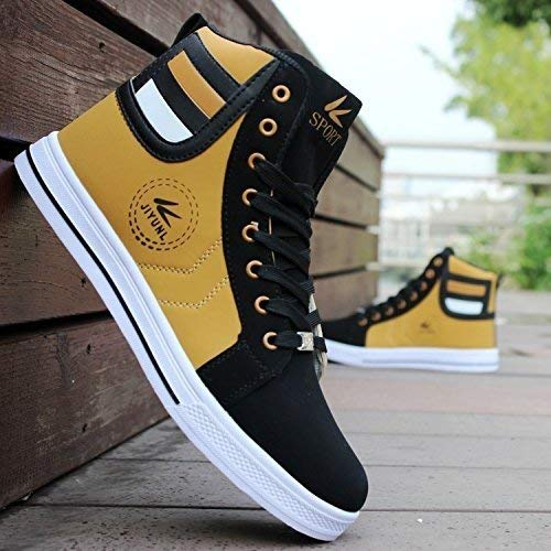 tazimall Mens Round Toe High Top Sneakers Casual Lace Up Skateboard Shoes Newest Style Gold Size 11