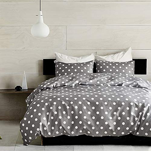 NOKOLULU Bedding Reversible Duvet Cover Set 3 Piece Sweet Polka Dot Print with Zipper Closure Soft Brushed Hypoallergenic(1 Duvet Cover + 2 Pillow Shams)(King,Grey)