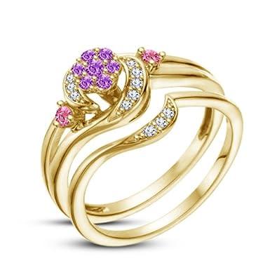 a12ce36e0 Vorra Fashion Sterling Sliver 14K Gold Plated Disney Princess Rapunzel  Bridal Ring Sets For Women's (