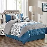KingLinen 11 Piece TIVA Blue/Gray Bed in a Bag Set Queen