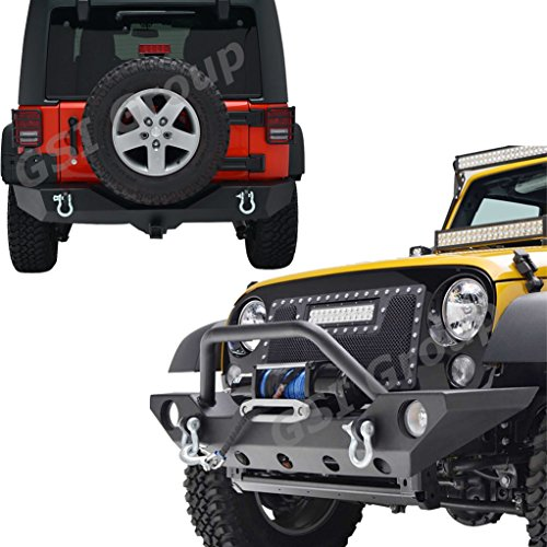 GSI-07-16-Jeep-Wrangler-Rock-Crawler-Front-Bumper-with-OE-Fog-Lights-Hole-and-Winch-PlateRear-Bumper-with-2Hitch-Receiver-Textured-Black-Combo