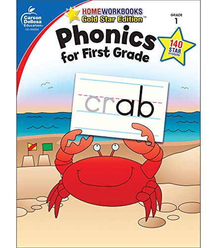 Phonics for First Grade, Grade 1: Gold Star Edition (Home - Vowel Blends Short