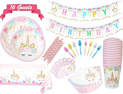 Unicorn Party Supplies Magical Plate Set for 16 Guests-130 Pieces-Paper Straws, Straws Decorations, Cutlery, Plates, Cups, Napkins, Banner, Table Cover-BUNDLE PACK by Party Palace