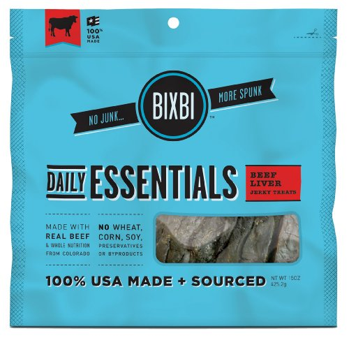 BIXBI Daily Essentials Dog Jerky Treats, 15-Ounce, Beef, My Pet Supplies