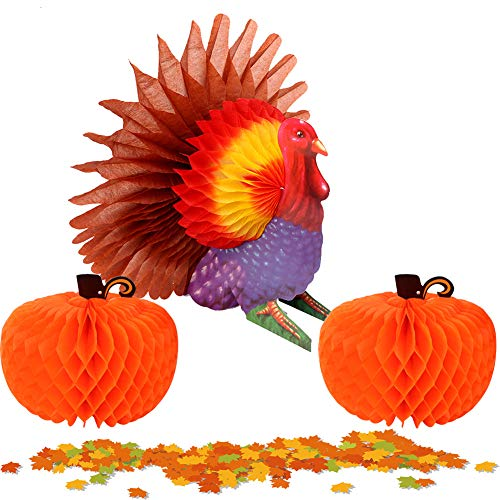Aerwo 1Pc Thanksgiving Turkey Centerpiece + 2Pcs Pumpkin Centerpieces Table Decoration for Thanksgiving Harvest Party Decorations -