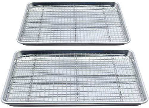 - Checkered Chef Baking Sheet and Rack Set - Twin Pack- 2 Aluminum Cookie Sheets/Half Sheet Pans With 2 Stainless Steel Oven Safe Cooling Racks