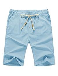 Mr.Zhang Men's Linen Casual Classic Fit Short Summer Beach Shorts