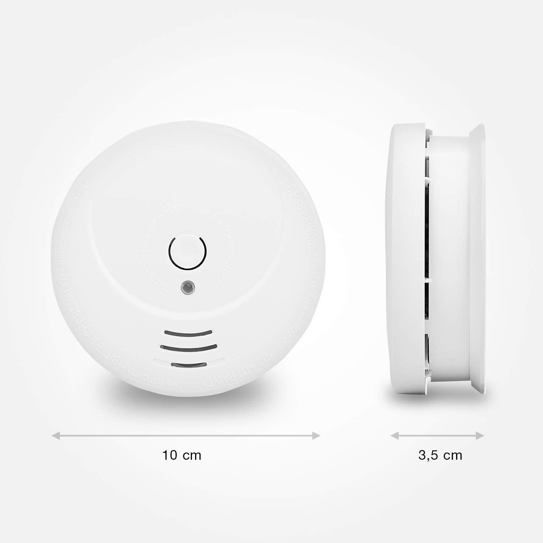 Detectores de humo Smartwares RM149/4 – Pack de 4 detectores – Batería incluida – Botón de prueba – 85 dB