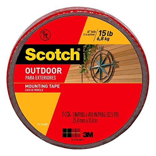 3M Scotch Outdoor Mounting Tape, 1-inch x 450-inches, Gray, 1-Roll (411-LONG) - 411-LONG/DC