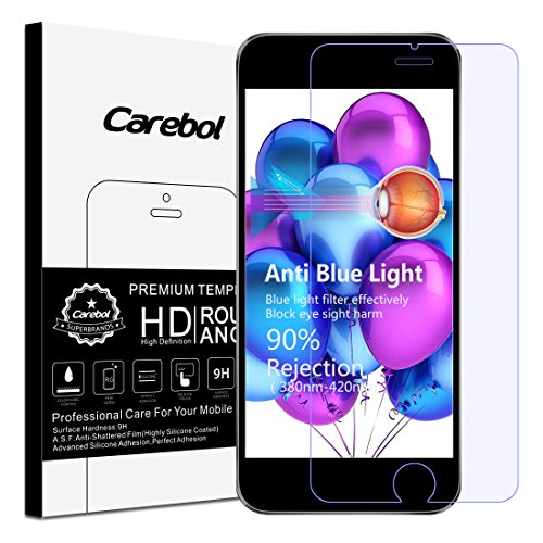 Carebol Anti Blue Light Premium Tempered Glass Screen Protector for iPhone 6 plus/iPhone 6S plus, [Eye Protect], Explosion-proof screen, High Definition ()