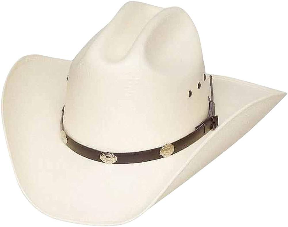 Western Express Classic Cattleman Straw Cowboy Hat Silver Conchos