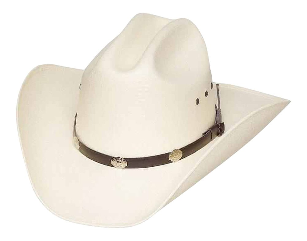 Western Express Classic Cattleman Straw Cowboy Hat with Silver Conchos - White - 7 1/4 (23 inches)
