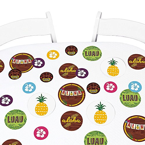 Big Dot of Happiness Tiki Luau - Tropical Hawaiian Summer Party Giant Circle Confetti - Party Decorations - Large Confetti 27 Count