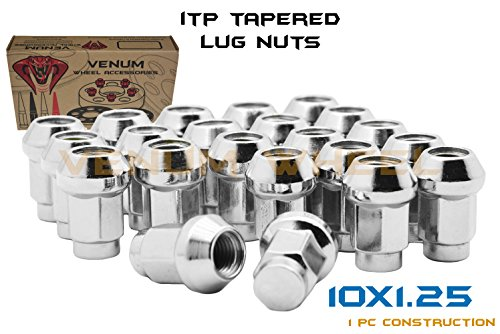 QTY-16pc ITP Chrome 10x1.25 Tapered Bulge Acorn Lug Nuts Fits Most Honda, Suzuki, Yamaha & Arctic Cat ATV/UTVs With Aftermarket & OEM Wheels